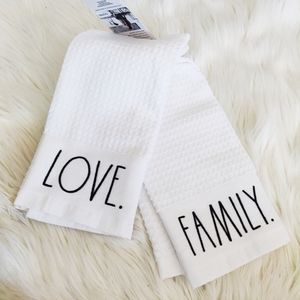 "Rae Dunn ""Love"" & ""Family"" set of tea towels"